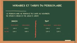TARIFS PERISCOLAIRE